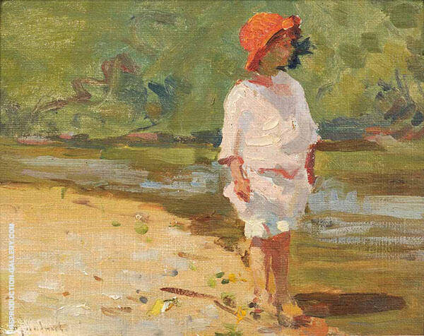 Young Child at The Water's Edge By Mabel May Woodward