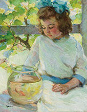 Young Girl with Fish Bowl By Mabel May Woodward