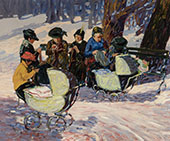 Knitting for Soldiers in an Upper Manhattan Park By George Luks