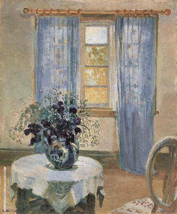 Room with Light Blue Curtins and Blue Clematis 1913 By Anna Ancher