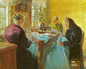Three Old Women Sewing a Blue Dress for a Fancy Dress Ball 1920 By Anna Ancher