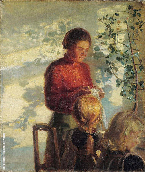Two Little Girls Being Taught How to Sew By Anna Ancher
