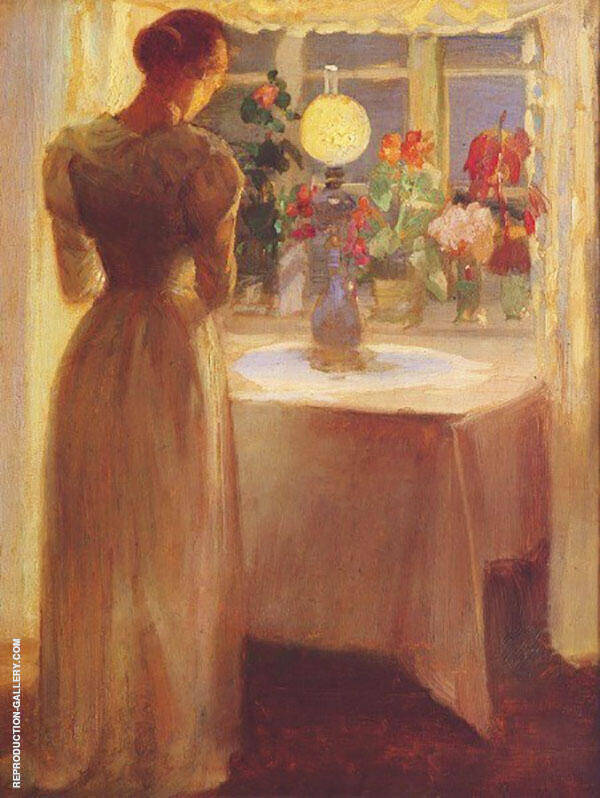 Young Girl Before a Lit Lamp 1887 By Anna Ancher
