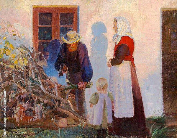 A Family from Skagen Cutting Boughs in The Low Evening Sun By Anna Ancher