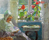 Ane Brondum The Artists Mother Reading in her Sitting Room By Anna Ancher