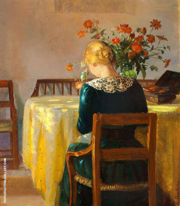 Interior with The Painters Daughter Helga Sewing 1890 By Anna Ancher