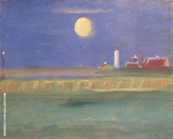 Moon Evening Lighthouse By Anna Ancher