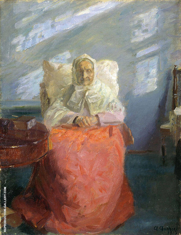 Mrs Ane Brondum in The Blue Room 1913 By Anna Ancher