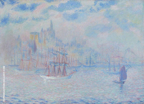 Ships in New York Harbour 1907 By Theodore Earl Butler