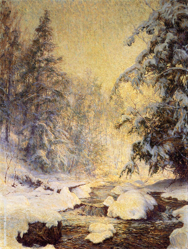 A Brook in Winter Painting By Walter Launt Palmer - Reproduction Gallery