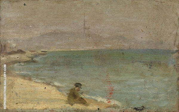 Man Sitting on Barceloneta Beach c1895 Painting By Pablo Picasso
