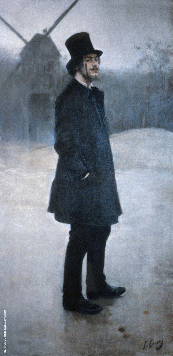Portrait of Erik Satie 1891 By Ramon Casas