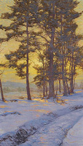 Path Through The Snow under Golden Skies By Walter Launt Palmer