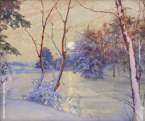 Winter Moonrise Painting By Walter Launt Palmer - Reproduction Gallery