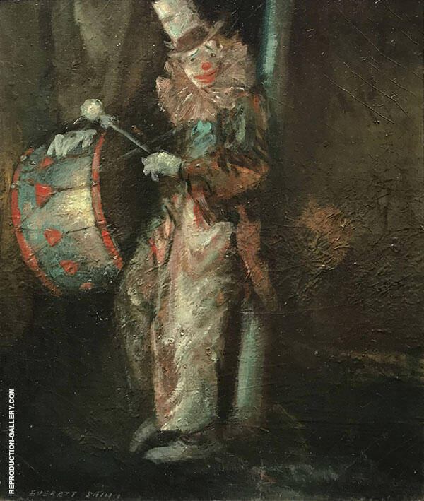 Clown with Drum c1940 Painting By Everett Shinn - Reproduction Gallery