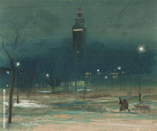 Madison Square Tower Painting By Everett Shinn - Reproduction Gallery
