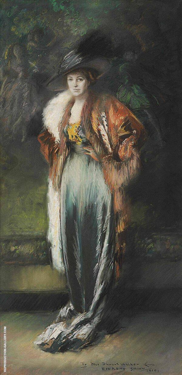 Mrs A Stewart Walker in a Fur 1910 Painting By Everett Shinn