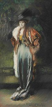 Mrs A Stewart Walker in a Fur 1910 By Everett Shinn