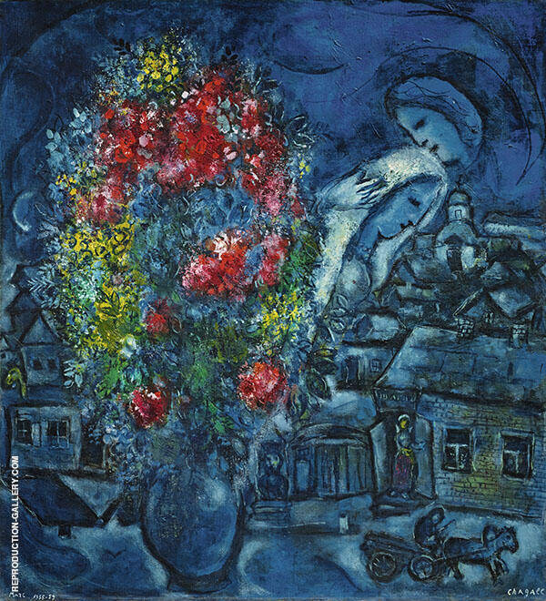 Le Village Bleu Painting By Marc Chagall - Reproduction Gallery