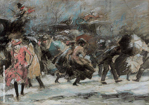 Snowstorm Broadway 1909 Painting By Everett Shinn - Reproduction Gallery