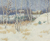 Stand of Birch Trees in Winter By John Leslie Breck