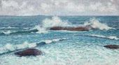 Surf at Gloucester c1890 By John Leslie Breck