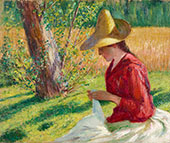 Suzanne Hoschede Monet Sewing 1888 By John Leslie Breck
