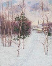 Village in Winter Auburndale Massachusetts c1895 By John Leslie Breck