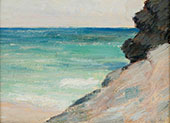 Bermuda Beach with Rocky Cliff By Clark Voorhees