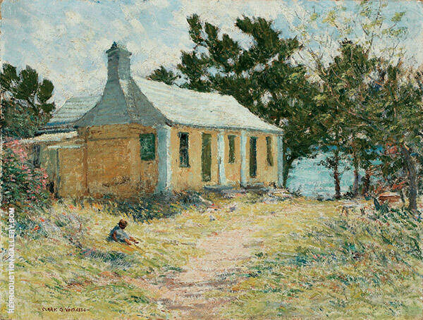 Bermuda House with Child Painting By Clark Voorhees - Reproduction Gallery