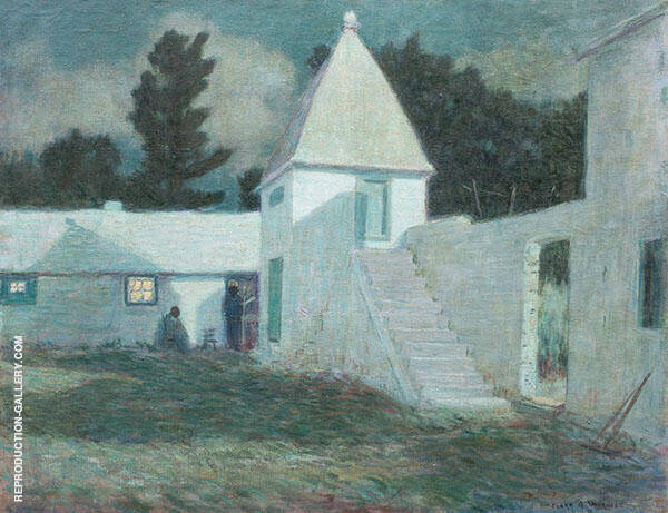 Springfield Courtyard by Moonlight Painting By Clark Voorhees