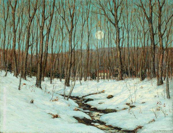 Winter Moonrise Painting By Clark Voorhees - Reproduction Gallery