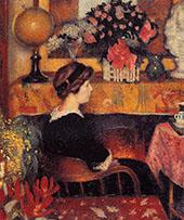 Madame Lemmen in a Flowery Interior 1913 By Georges Lemmen