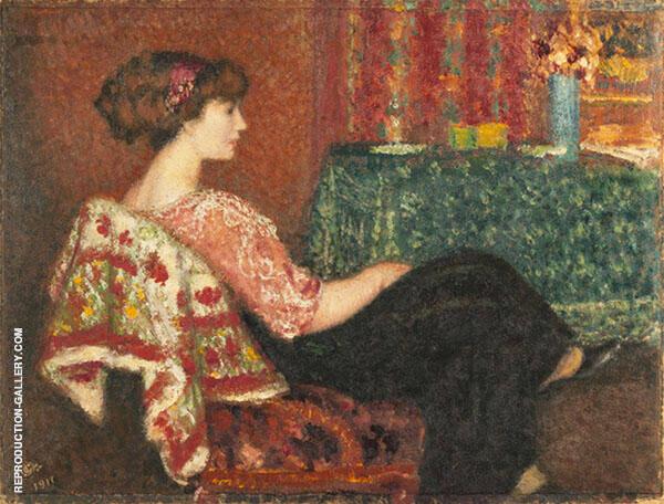 Madam Lemmen in The Salon By Georges Lemmen