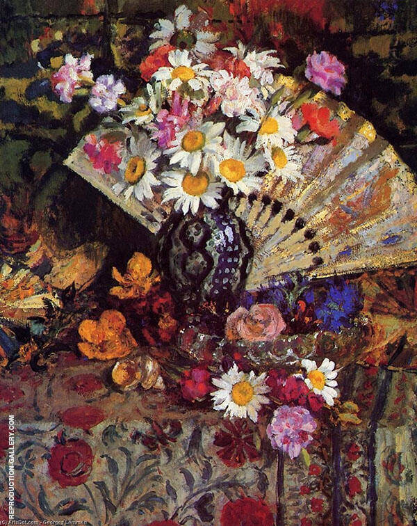 Still Life with Fan Painting By Georges Lemmen - Reproduction Gallery