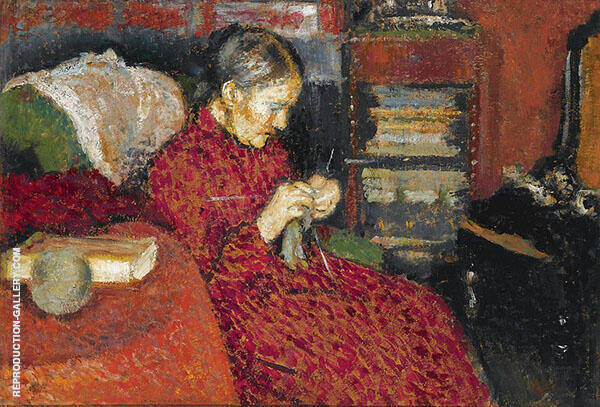 The Knitter Painting By Georges Lemmen - Reproduction Gallery