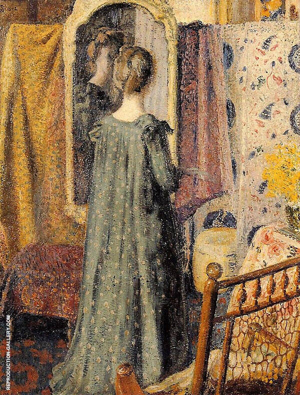 Woman Standing in Front of The Mirror Painting By Georges Lemmen