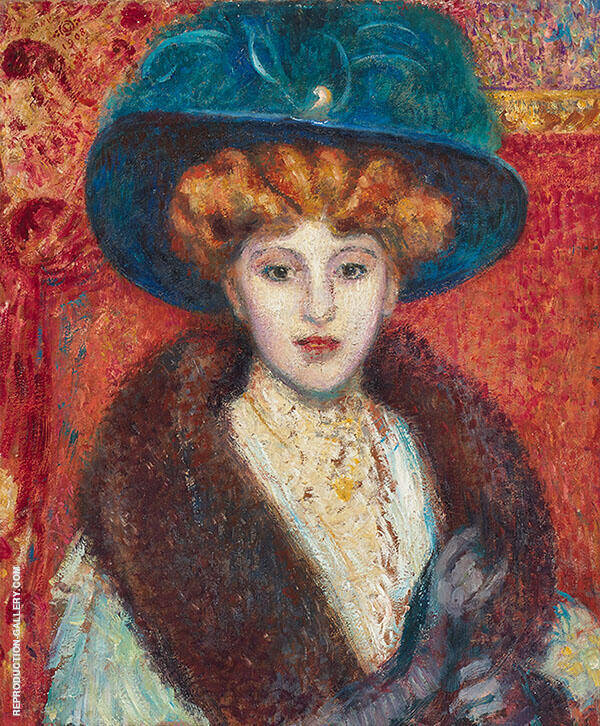 Woman with Blue Hat Painting By Georges Lemmen - Reproduction Gallery