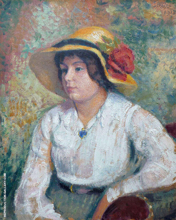 Young Woman with Flower Hat By Georges Lemmen