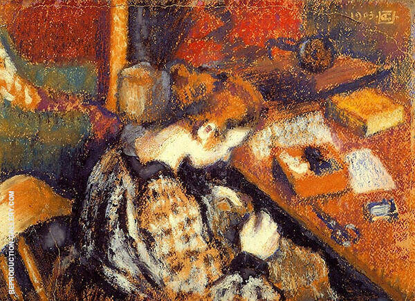 Young Women Sewing Painting By Georges Lemmen - Reproduction Gallery