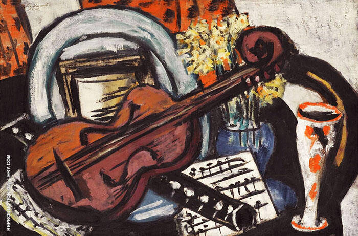 Still Life with Violin and Flute 1942 By Max Beckmann