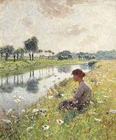 Girl near the Leie 1892 By Emile Claus
