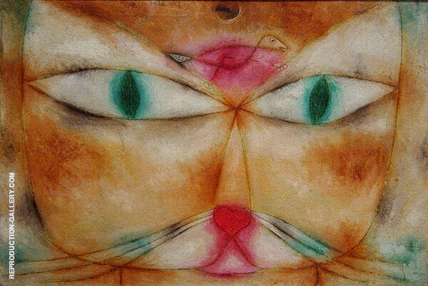 Cat and Bird 1928 by Paul Klee   Oil Painting Reproduction Replica On Canvas - Reproduction Gallery