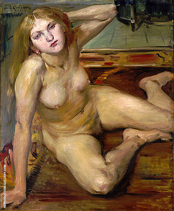 Nude Girl on a Rug Painting By Lovis Corinth - Reproduction Gallery