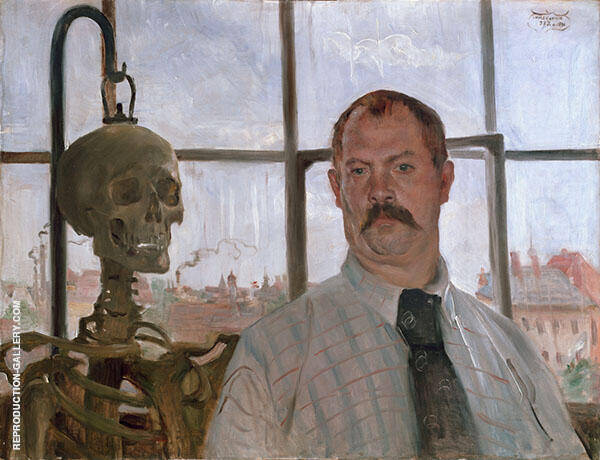 Self Portrait with Skeleton Painting By Lovis Corinth