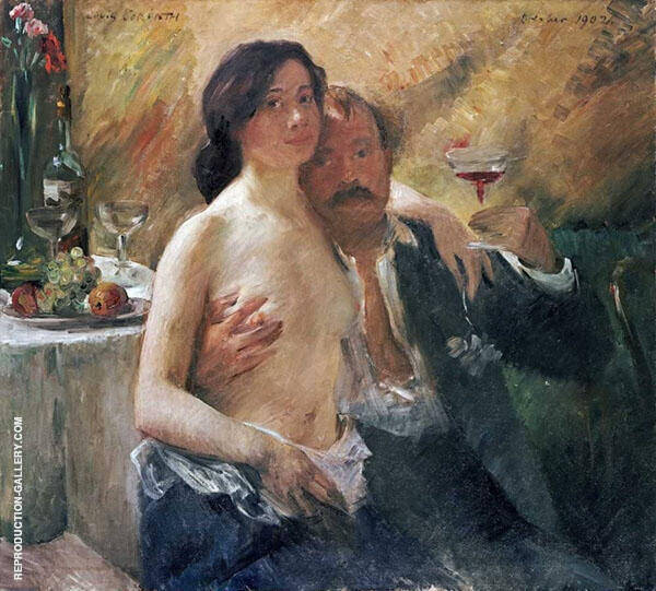 Self Portrait with Wife and a Glass Painting By Lovis Corinth