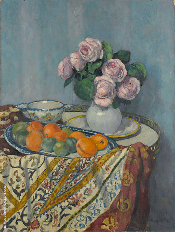 Bouquet of Roses and Fruit Painting By Albert Andre - Reproduction Gallery