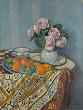 Bouquet of Roses and Fruit By Albert Andre