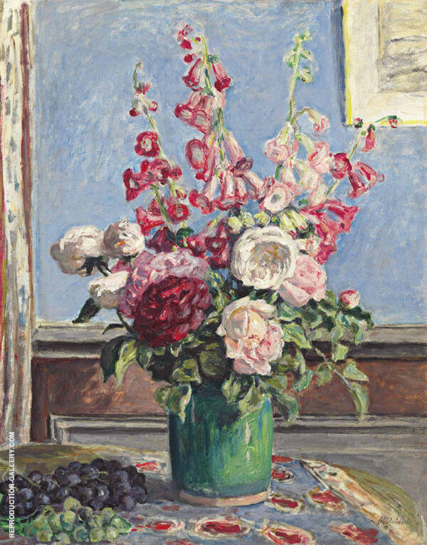 Bouquet or Roses and Foxgloves Painting By Albert Andre
