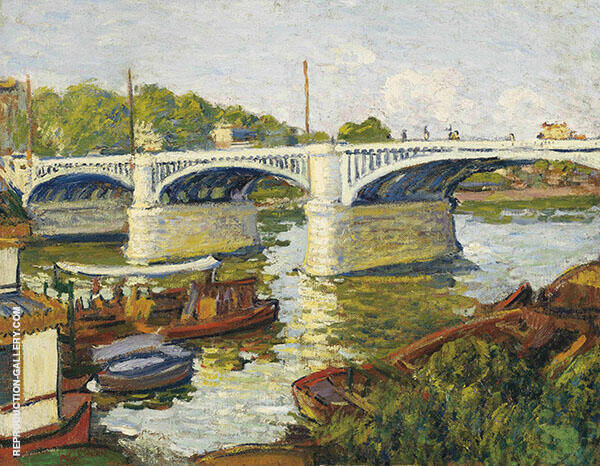 Bridge on The Seine Paris Painting By Albert Andre - Reproduction Gallery